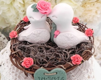 Rustic Love Bird Wedding Cake Topper - Ivory, Coral and Moss Green, Love Birds in Nest - Personalized Heart