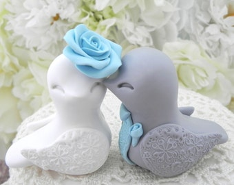 blue love birds wedding cake topper bird wedding cake topper light blue and white by 11994