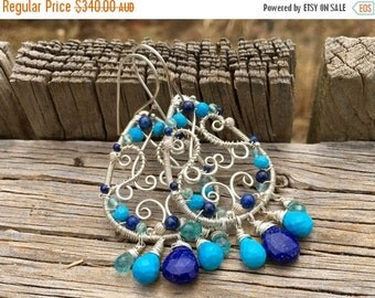 ON SALE Sterling silver filigree teardrop earrings with lapis lazuli, turquoise, and apatite