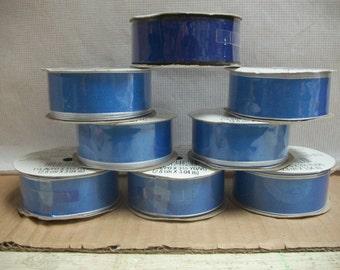 Vintage Wire Edge Blue Fabric Ribbon by Hallmark **