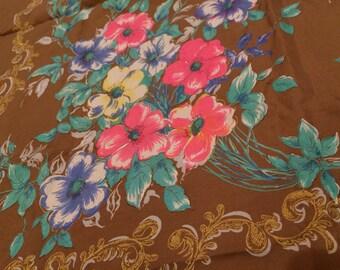 Large Silk Scarf Floral Brown Pink Gold Green Blue White Yellow Vintage Garden