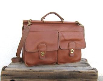 Briefcase Vintage Large Distressed Cognac Leather Satchel Travel Bag