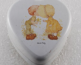 Vintage Heart Shaped Tin Boy Flowers Sarah Kay Valentine Australia Made Switzerland Trinket Stash Box
