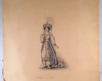 Lovely Original Hand Drawing of Woman in Costume
