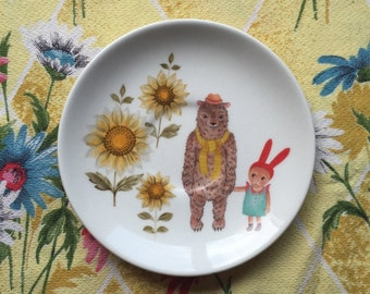 Bear and Bunny With Sunflowers Vintage Illustrated Plate