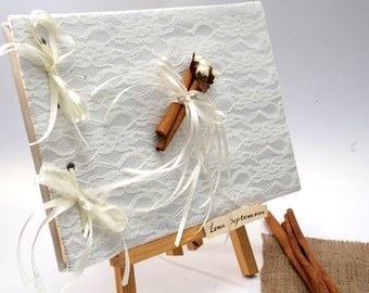 Wedding Guest Book  with Lace and Cinnamons- Romantic Weddings