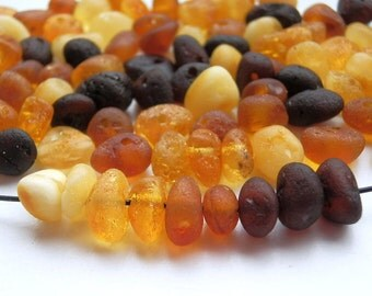 100pcs - Natural Baltic amber beads, unpolished rounded beads, cherry, cognac, honey, yellow amber,  5-8 mm at widest part (#103)