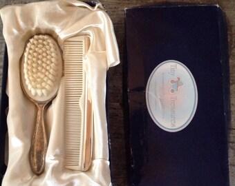 Vintage Tiny Treasures Silverplate Brush Comb Set