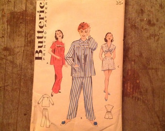 1950's Vintage Butterick Sewing Pattern 6696 Misses' Pajamas Sz 14