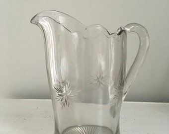 Shabby Chic Retro Vintage Arcoroc Pink Glass Beverage Pitcher