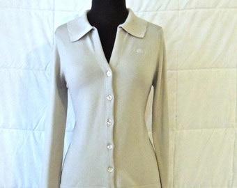 vintage Givenchy top - 1970s grey knit button-down sweater top