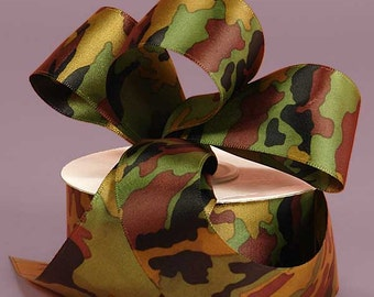 "New 2 yards Satin Camouflage Ribbon 3/8"" wide, Military Camo Ribbon"