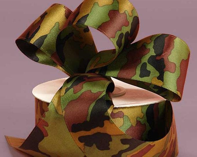 "New 2 yards Satin Camouflage Ribbon 3/8"" wide, Military Camo Ribbon"