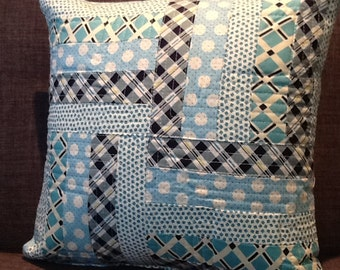 Quilted Stripes Scraps Blue White Navy Accent Pillow Cover 14 inch