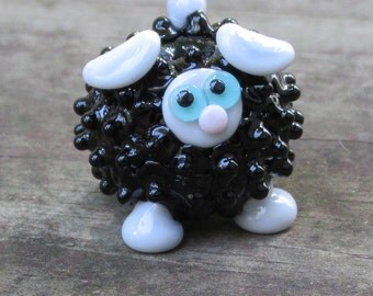 Black and Grey Sheep Lamb Ewe Lampwork Handmade SRA OOAK Glass Bead NLC Beads leteam