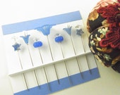 Sewing Pins Blue Daisy with Genuine Denim Lapis Stars