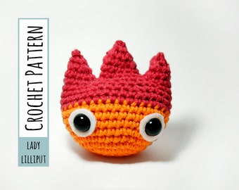 PATTERN - Calcifer Crochet Fire Demon Amigurumi
