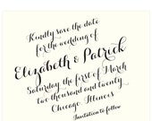 Black and ivory Save the Date card, black script font, Carolyna font; SAMPLE ONLY