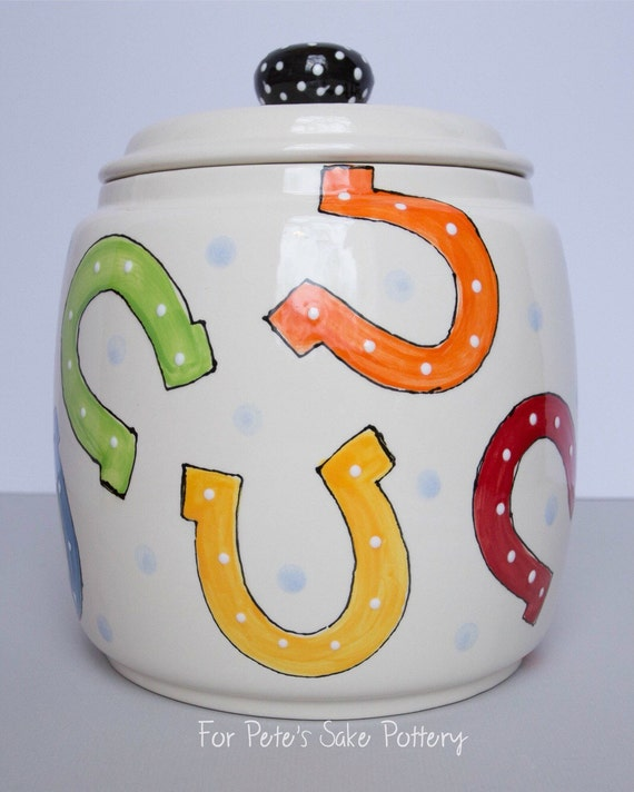 Horseshoe Canister, Horseshoe Cookie jar, ceramic cookie jar, derby treat jar, And they're off canister, derby pottery