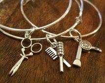 Hairdressers Gift 3 Bangles Hairdryer Comb Scissors Set of 3 Stacker Bangles bracelet silver charm bracelet hair salon  Stylist gift jewelry