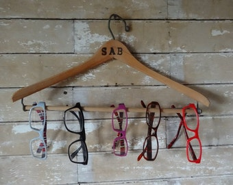 Vintage Wooden Engraved Pant Hanger Eye Glass holder