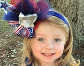 Toddler Adult Girls Red Sparkle Fascinator on Acrylic Band, Blue Tulle, Wired Stars, Patriotic and Silver Glitter Ribbon, One Size Fits All