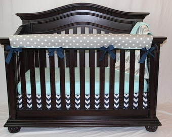 Gray Polka Dot Crib Rail Guard, Gender Neutral Rail Guard