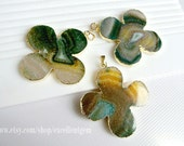 Agate slice clover pendant,  gem stone pendant, 24kt, Gold Plated Edge Geode agate Pendant - 50mm*50mm  JSP-6659
