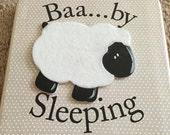 Baby Lamb Nursery Door Hanger-Baby Sleeping