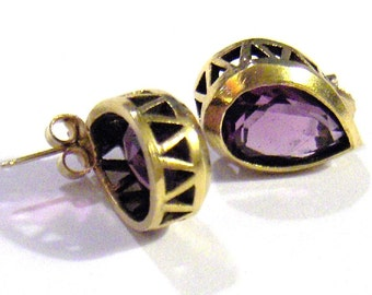 Van Dell Pierced Teardrop Earrings Amethyst Crystal 14K Gold Filled