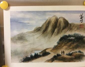 Original Watercolor Painting-Landscape of Grand Teton National Park