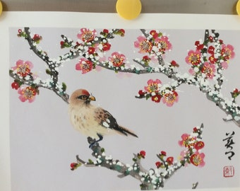 Original Watercolor Painting-Plum Blossom and Bird in Snow