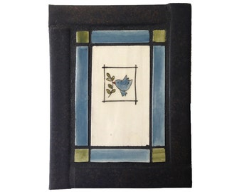 ON SALE: Blue Peace Bird, handmade tile mosaic in a blue, green and black tile frame, handmade tile, mosaic art