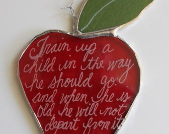 Apple for the Teacher-5 inch art glass ornament