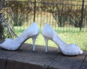 Lace Wedding Shoes - Lace - Available In Pastel Colors - 3 3/4 Inch Heel - Wedding Pumps - Bridal Shoes - Lace Shoes - Crochet Lace Shoes