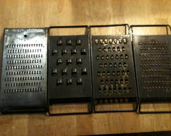 Set of 4 Vintage Metal Graters/Shredders