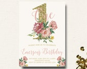 Pink and Gold Girls Birthday Invitation Floral Invite Boho Chic Glitter Gold and Blush Flower Crown