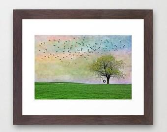 Fine Art Print Spring Summer Tree Tire Swing