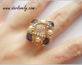 Beaded Ring PDF Pattern - Crystal Pearl Purple Square Ring (RG061) - Beading Jewelry PDF Tutorial (Digital Download)