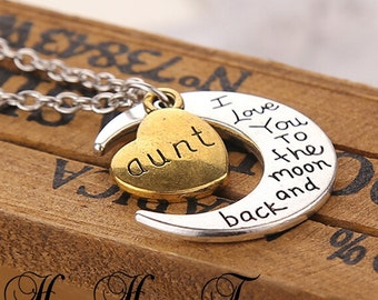 "Aunt ""I love you to the moon and back"" Pendant Necklace"