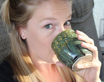 Green Over Turkish Amber Brown Wine Cup, Tea Mug, Tea Cup ,Yunomi, Japanese Inspired Textured Tea Bowl
