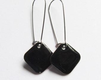 Black enamel geometric drop earrings Surgical steel Minimalist jewelry Small simple black dangles