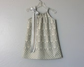 New! Girls Grey Pillowcase Dress - Grey and Pale Yellow Damask - Little Girls Grey Sun Dress - Size 12m, 18m, 2T, 3T, 4T, 5, 6, 8 or 10