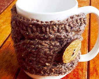 Braided coffee cup cozy - Coffee accessories, cozy,  mug cozy, crochet cup cozy,