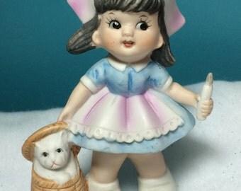 Figurine Bisque Nurse Vintage Lefton ? Veterinary Gift Ceramic Decor Sweet Faced Red Cross Nurse with Kitten