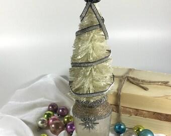 Vintage Bottle Brush Christmas Tree / Star Light Star Bright / vintage jar / velvet ribbon