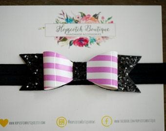 Halloween Headband,  Glitter Headband, baby headband, Halloween Bow, Bat Bow