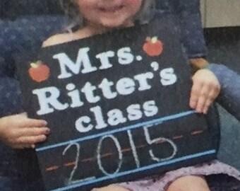 Personalized Teacher Chalkboard Sign-Teacher Gift-photo prop