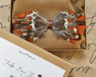 Strikingly Handsome Pheasant Feather Bow Tie Gift Boxed - Free Shipping