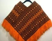Vintage Boho Poncho // 1970s Orange Fringe Poncho // Guatemalan Poncho // Orange Woven Hippie Poncho // One Size
